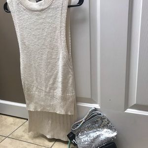 Express sleeveless sweater and shimmer bag